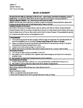 1st Grade Energy Unit: Lesson Plans, Journal Assignments, and Assessment