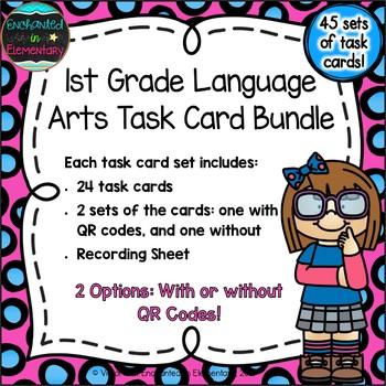 1st Grade English Language Arts Task Cards Bundle
