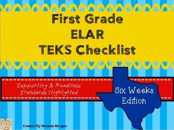 1st Grade English Language Arts and Reading TEKS Checklist {6 weeks edition}