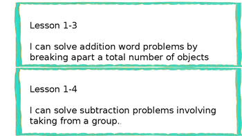 1st Grade- Envision Math- I Can Statements- TOPIC 1