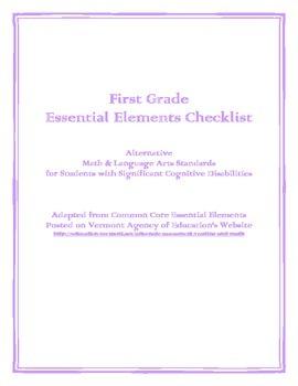 1st Grade Essential Elements Checklist