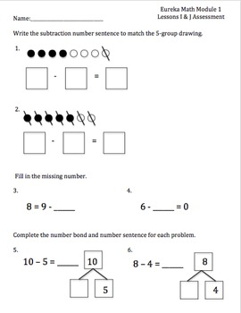 1st Grade Eureka Math/Engage NY Module 1 Topics D-J Assessments