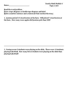 1st Grade Eureka Math Module 6 Topics A & B Assessment