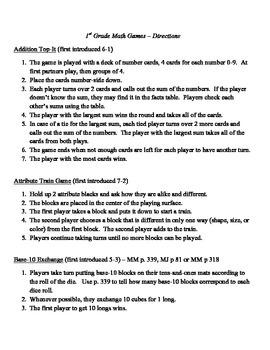 1st Grade Everyday Math Games Explanation