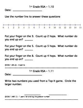 1st Grade Everyday Math RSAs