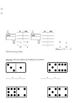 1st Grade, Everyday Math, Unit 5 Practice Test