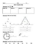 1st Grade, Everyday Math, Unit 7 Practice Test