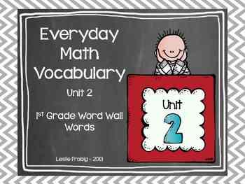 1st Grade Everyday Math Word Wall Words Unit 2 Vocabulary