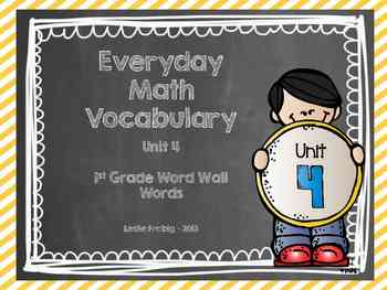 1st Grade Everyday Math Word Wall Words  Unit 4 Vocabulary