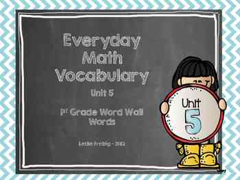 1st Grade Everyday Math Word Wall Words  Unit 5 Vocabulary