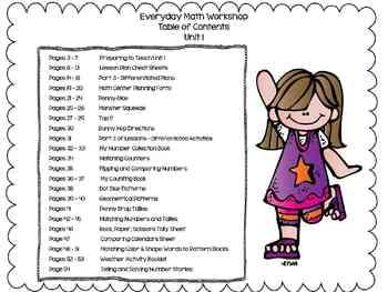 1st Grade Everyday Math Workshop Plans for Unit 1