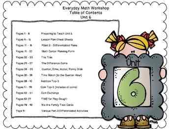 1st Grade Everyday Math Workshop Plans for Unit 6