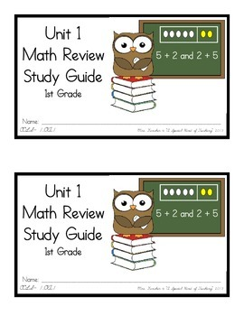 1st Grade Expressions Math: Unit 1 Review Study Guide- Early Number Activities