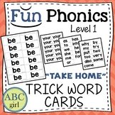 1st Grade Fundationally FUN PHONICS Level 1 Take Home Trick Word Cards