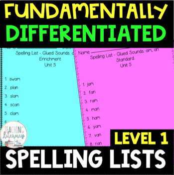 Level 1 FUNdamentally Differentiated Spelling Lists AND Activities Full Year