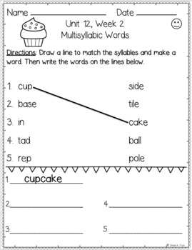 1st Grade FUNdamentally Differentiated Word Work Activities - Level 1, UNIT 12