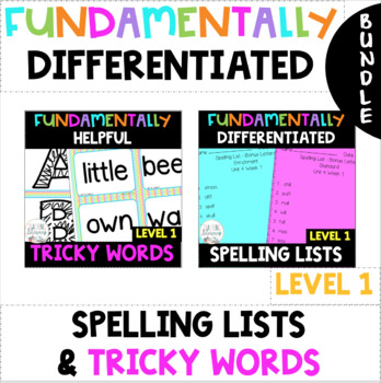 1st Grade FUNdamentally Helpful Tricky Word Cards& DIFFERENTIATED Spelling Lists