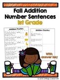 1st Grade Fall Addition Number Sentences