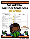 1st Grade Fall Addition Number Sentences