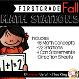 1st Grade Fall Math Stations