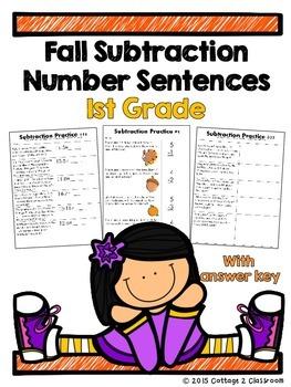 1st Grade Fall Subtraction Number Sentences