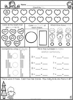 1st Grade February Math Journal