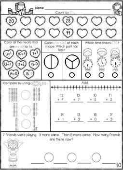 1st Grade February Math Journal by Cahill's Creations | TpT