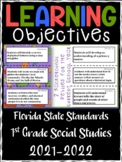 1st Grade Florida Social Studies Learning Objective Cards | Color & B&W