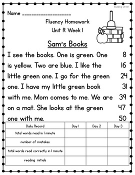 1st Grade Fluency Homework {Reading Street Unit R}