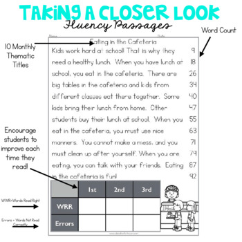 1st Grade Fluency Passages for August