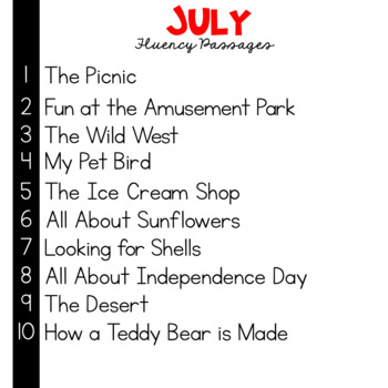 1st Grade Fluency Passages for July