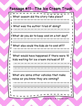 1st Grade Fluency Passages with Comprehension Questions Set B (#11-20)