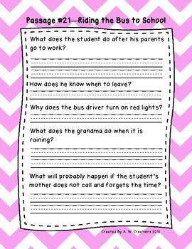 1st Grade Fluency Passages with Comprehension Questions Set C (#21-30)