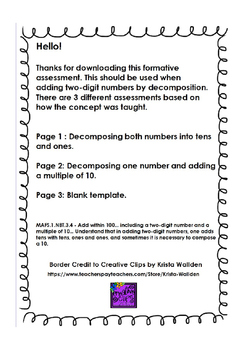 1st Grade Formative Assessment - Two-Digit Decomposition