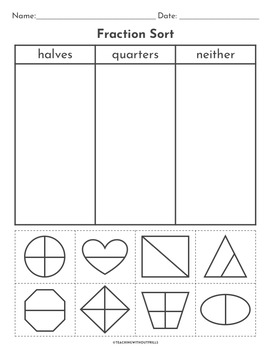 |1st Grade Fractions| Halves and Fourths Activity Packet 1.G.A.3