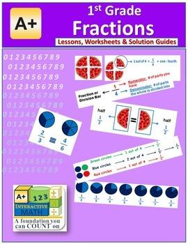 1st Grade Fractions Lessons, Worksheets, Solution Manuals