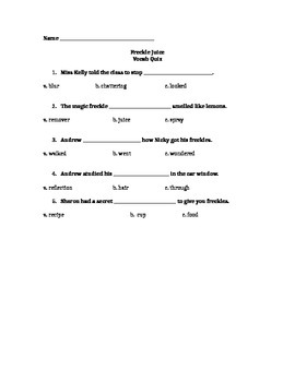 1st Grade Freckle Juice Comprehension and Vocabulary Test