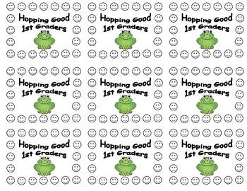 1st Grade Frog Behavior Punch Cards
