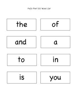 1st Grade Fry's First 100 Sight Words