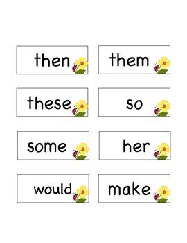 1st Grade Fry's First 100 Words List --Ladybug Flower Clipart