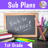 Back to School Activities for 1st Grade Sub Plans