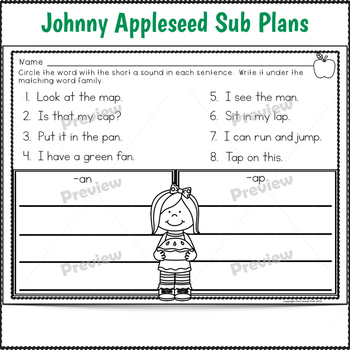 1st Grade Full Day Sub Plans Johnny Appleseed