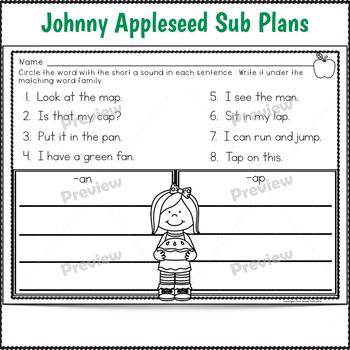 Johnny Appleseed Sub Plans 1st Grade