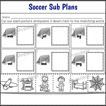1st Grade Full Day Sub Plans Soccer