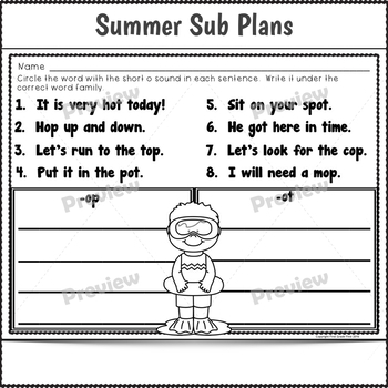 1st Grade Full Day Sub Plans Summer