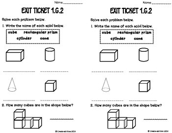 2D Shapes Math Tasks and Exit Tickets