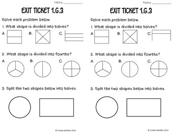 Partitioning Shapes Math Tasks and Exit Tickets 1st Grade