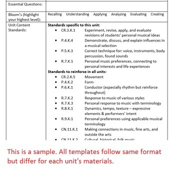 1st Gr Unit Plan Template - Genres/Personal Response - Arkansas Elementary Music