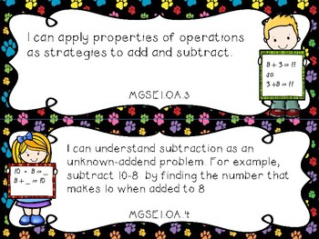 1st Grade Georgia Standards of Excellence I Can Statements for All Subjects