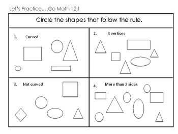 1st Grade Go Math Ch. 12 Review Sheets